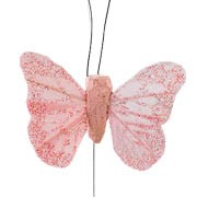 Baby Pink Small Feather Butterflies