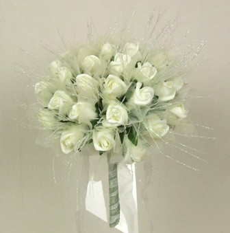 Ivory Rose Shimmer Bridal Posy Bouquet