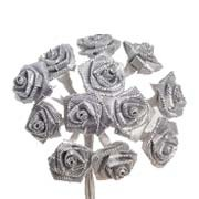 Silver / Grey Satin Ribbon Roses