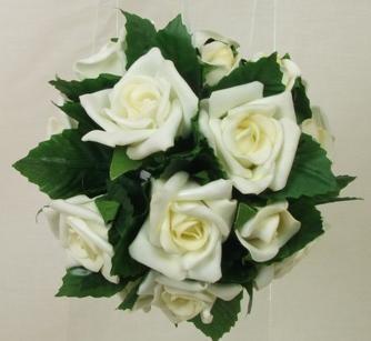 Flowergirl's Ivory Rose & Leaves Pomander Ball