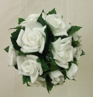 Flowergirl's White Rose & Leaves Pomander Ball