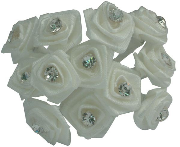 White Diamante Ribbon Roses