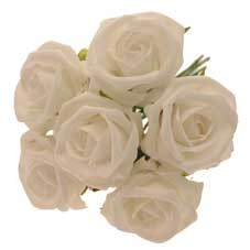6 Luxury White Medium Roses