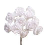 White Irridescent Satin Ribbon Roses
