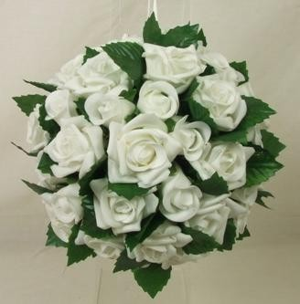 Large White Rose & Leaves Pomander Ball