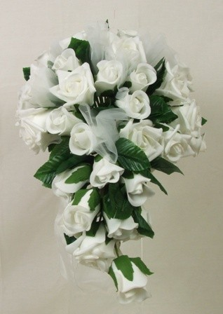 White Rose & Organza Ribbon Shower Bouquet