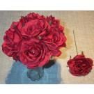 7 Burgundy Luxury Silk Open Roses