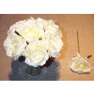 7 Ivory Luxury Silk Open Roses