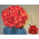 7 Orange Luxury Silk Open Roses