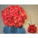 Orange Luxury Silk Open Rose Sample