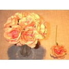 7 Peach Luxury Silk Open Roses