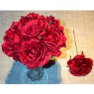 7 Red Luxury Silk Open Roses