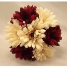 Burgundy & Ivory Gerbera & Crystal Bridesmaid Bouquet