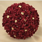 Burgundy & Ivory Rose Diamante Bridal Bouquet