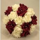 Burgundy & Ivory Diamante Bridesmaid's Bouquet