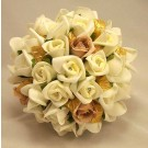 Ivory Rosebud & Gold Leaf Bouquet