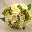 Ivory Open Rose & Bead Posy Bouquet