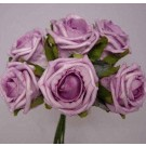 6 Luxury Lilac / Lavender Medium Roses