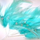 Aqua Diamante Feathers