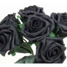 6 Luxury Black Medium Roses