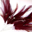 Burgundy Diamante Feathers