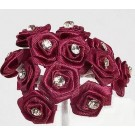 Burgundy Diamante Ribbon Roses