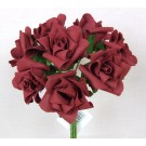 6 Luxury Burgundy Medium Roses