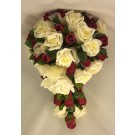 Burgundy & Ivory Rose Organza Shower Bouquet