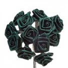 Dark Green Satin Ribbon Roses