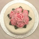 Pink Rose Organza Cake Topper