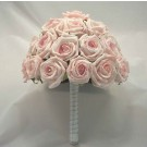 Pink Open Rose Diamante Table Posy