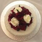 Burgundy & Ivory Rose Organza Cake Topper
