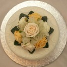 Cream & Gold Rose Organza Cake Topper