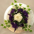 Purple Lisianthus & Cream Cake Topper