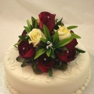 Burgundy & Ivory Rose Luxury Cake Topper
