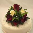 Burgundy & Ivory Rose Luxury Cake Topper