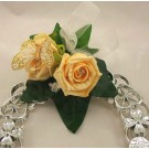 Gold Diamante Rose & Butterfly Horseshoe