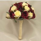 Burgundy & Cream Rose Table Posy