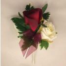 Burgundy & Ivory Rose Corsage