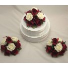 Set of 3 Burgundy & Ivory Rose Cake Toppers
