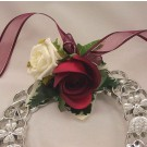 Ivory & Burgundy Rose Horseshoe