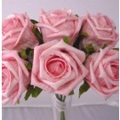 6 Luxury Pink Medium Roses