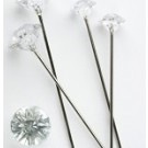 100 Silver Diamante Pins 8mm