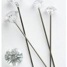 25 Silver Diamante Pins 8mm