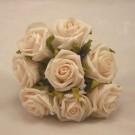 8 Cream Small Open Roses