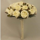 White Ivory Rose Diamante Table Posy