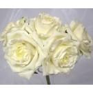 5 Luxury Open Ivory Roses