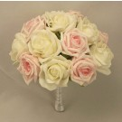 Pink & Pearl White Rose Table Posy