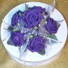 Purple Rose Diamante Organza Cake Topper