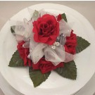 Red Rose & Crystal Organza Cake Topper